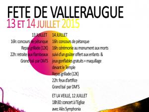 affiche fête valleraugue du 14 juillet